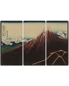 "Shower below the summit, Mount Fuji, Eruption, Volcano, 1826, Triptych Metal Sign, Oriental, Chinese,  Wall Decor, Wall Art 54""x36"""