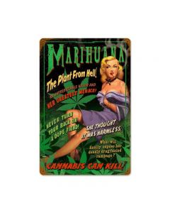 "Reefer Madness, The Plant From Hell, Marijuana, Cannabis, Metal Sign, 12"" X 18"" or 24"" X 36"""