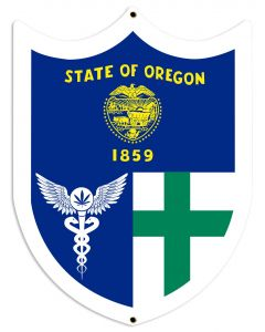 "Oregon Flag, Green Cross, Medical Marijuana, Cannabis,  Shield, Wall Decor, Cannabis Dispensary Decor, Man Cave Sign, Metal Sign 18""x24"""
