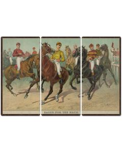 "Eager For The Race, Seven Jockeys Currier & Ives 1893, Horse Races, Triptych Metal Sign, Americana, Wall Decor, Wall Art 54""x36"""