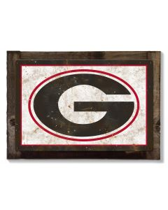 Georgia Bulldogs Wall Art, Rustic Metal Sign, Optional Rustic Wood Frame, College Teams, Mascots, and Sports, Free Shipping