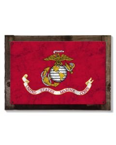 United States Marines Flag, Armed Forces, Metal Sign, Optional Rustic Wood Frame, Wall Decor, Wall Art, Vintage, Rustic