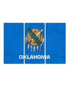 "Oklahoma State Flag, ""Oklahoma is OK"", Triptych Metal Sign, Wall Decor, Wall Art, Vintage, 54""x36"""