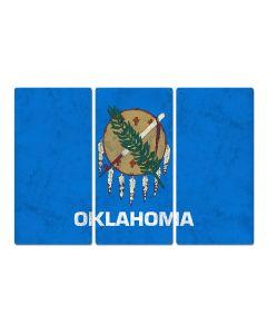 "Oklahoma State Flag, ""Oklahoma is OK"", Triptych Metal Sign, Wall Decor, Wall Art, Vintage, 54""x36"""
