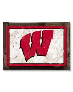 Wisconsin Badgers Wall Art, Rustic Metal Sign, Optional Rustic Wood Frame, College Teams, Mascots, and Sports, Free Shipping