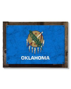 "Oklahoma State Flag, ""Oklahoma is OK"", Metal Sign, Metal Sign, Optional Rustic Wood Frame, Wall Decor, Wall Art, FREE SHIPPING!"
