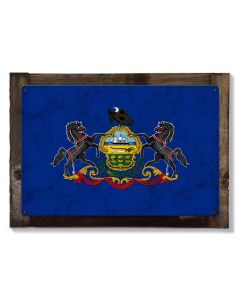 Pennsylvania State Flag, Virtue Liberty Independence, Metal Sign, Optional Rustic Wood Frame, Wall Decor, Wall Art, Vintage, FREE SHIPPING!