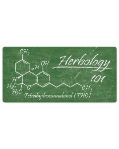 "Herbology THC Molecule chalkboard Marijuana Metal Sign 24""x12"""