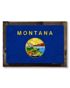 Montana State Flag, The Treasure State, Metal Sign, Optional Rustic Wood Frame, Wall Decor, Wall Art, Vintage, FREE SHIPPING!