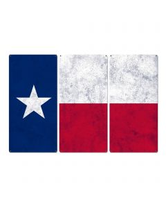 "Texas State Flag, The Lone Star State, Triptych Metal Sign, Wall Decor, Wall Art, Vintage, 54""x36"""