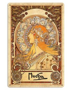 "Mucha, Zociac, Metal Sign, Wall Decor, Nouveau Art 12""x18"""