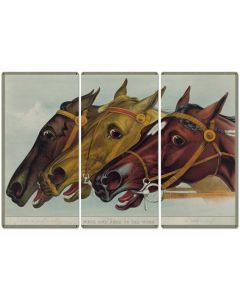 "Neck and Neck to the Wire, Jay Eye See, Currier & Ives 1884, Horse Races, Triptych Metal Sign, Americana, Wall Decor, Wall Art 54""x36"""