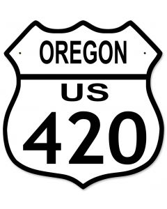 "Highway Route 420 US, New York, California, Oregon, Washington, Colorado Metal Shield Highway Sign 12""x 15"""