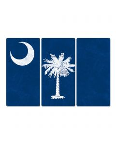 "South Carolina State Flag, Smiling Faces Beautiful Places, Triptych Metal Sign, Wall Decor, Wall Art, Vintage, 54""x36"""