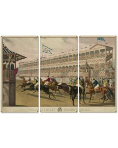 "The False Start, Jerome Park New York, Currier & Ives 1868, Horse Races, Triptych Metal Sign, Americana, Wall Decor, Wall Art 54""x36"""