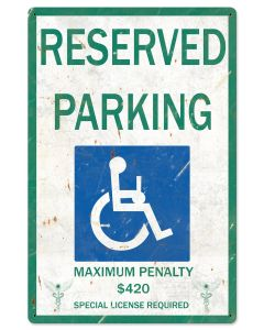 "Reserved Parking Handicap 420 Special License Required Marijuana Metal Sign24""x16"""