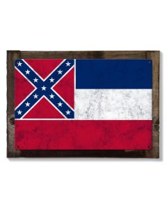 Mississippi State Flag, The Magnolia State, Metal Sign, Optional Rustic Wood Frame, Wall Decor, Wall Art, Vintage, FREE SHIPPING!