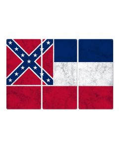 "Mississippi State Flag,  The Magnolia State, Triptych Metal Sign, Wall Decor, Wall Art, Vintage, 54""x36"""