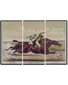 "Salvator VS Tenny, Currier & Ives 1890, Horse Races, Horses, Racing, Triptych Metal Sign, Americana, Wall Decor, Wall Art 54""x36"""