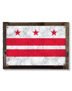 Washington D.C. State Flag, Taxation Without Representation, Metal Sign, Optional Rustic Wood Frame, Wall Decor, Wall Art, FREE SHIPPING!