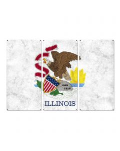 "Illinois State Flag, Land of Lincoln, Triptych Metal Sign, Wall Decor, Wall Art, Vintage, 54""x36"""