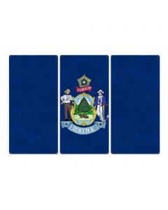 "Maine State Flag,  It Must be Maine, Triptych Metal Sign, Wall Decor, Wall Art, Vintage, 54""x36"""