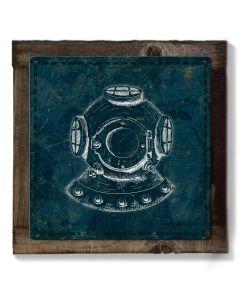 Vintage Scuba Diver Mask, METAL Sign, Optional Reclaimed BarnWood Frame, American Steel, Wall Decor, Wall Art, Vintage, FREE SHIPPING