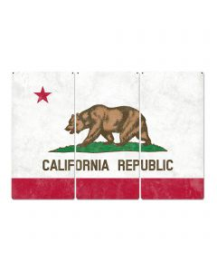 "California State Flag, California Bear, Eureka! ; The Golden State, Triptych Metal Sign, Wall Decor, Wall Art, Vintage, 54""x36"""
