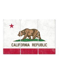"California State Flag, California Bear, Eureka! ; The Golden State, Triptych Metal Sign, Wall Decor, Wall Art, Vintage, 54""x36"""