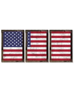 United States of America Flag, Triptych METAL Sign, Vintage, Antique, Decor, Wall Art , Optional Reclaimed Barn-wood Frame