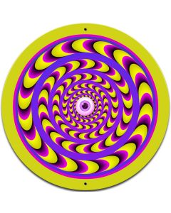 Optical Illusion hippie Round Metal Sign
