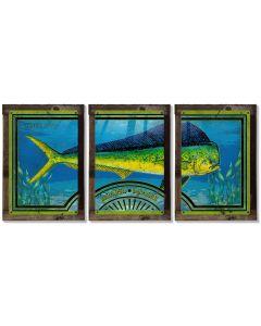 Mahi-mahi, Dorado, Dolfinfish, METAL Triptych, Optional Rustic Wood Frame, Sport Fishing, Wall Art, Ocean, Nautical