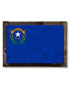 Nevada State Flag, Battle Born, Metal Sign, Optional Rustic Wood Frame, Wall Decor, Wall Art, Vintage, Americana