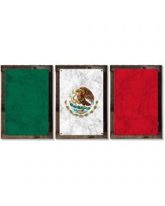 Mexico Flag, Triptych METAL Sign, Vintage, Antique, Decor, Wall Art , Optional Reclaimed Barn-wood Frame