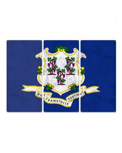"""Connecticut State Flag, Full of Surprises, Triptych Metal Sign, Wall Decor, Wall Art, Vintage, 54""""x36"""""""