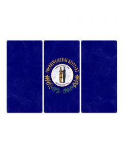 "Kentucky State Flag, United We Stand Divided we Fall, Triptych Metal Sign, Wall Decor, Wall Art, Vintage, 54""x36"""