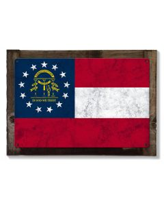 Georgia State Flag, Georgia on my Mind, Metal Sign, Optional Rustic Wood Frame, Wall Decor, Wall Art, Vintage, FREE SHIPPING!