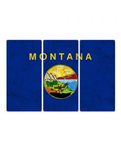 "Montana State Flag,  The Treasure State, Triptych Metal Sign, Wall Decor, Wall Art, Vintage, 54""x36"""