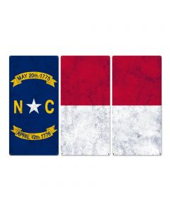 "North Carolina State Flag, First in Flight, Triptych Metal Sign, Wall Decor, Wall Art, Vintage, 54""x36"""