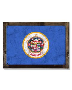 Minnesota State Flag, Explore Minnesota, Metal Sign, Optional Rustic Wood Frame, Wall Decor, Wall Art, Vintage, FREE SHIPPING!