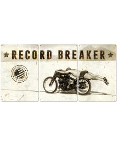 Bonneville, Motorcycle, Rollie Free, Record Breaker, Triptych METAL Sign, Wall Art , Optional Reclaimed Barn Wood Frame