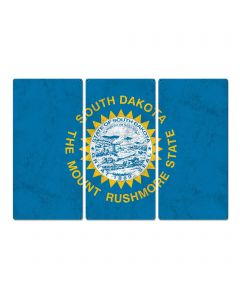 "South Dakota State Flag, Great Faces. Great Places. , Triptych Metal Sign, Wall Decor, Wall Art, Vintage, 54""x36"""