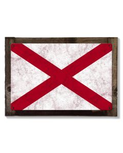 Alabama State Flag, Heart of Dixie, Metal Sign, Optional Rustic Wood Frame, Wall Decor, Wall Art, Vintage, Rustic, FREE SHIPPING!