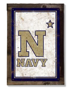 Navy Midshipmen, Wall Art, Rustic Metal Sign, Optional Rustic Wood Frame, College Teams, Mascots, and Sports, Free Shipping