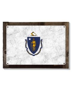 Massachusetts State Flag, The Spirit of America, Metal Sign, Optional Rustic Wood Frame, Wall Decor, Wall Art, FREE SHIPPING!
