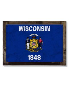 Wisconsin State Flag, America's Dairy Land, Metal Sign, Optional Rustic Wood Frame, Wall Decor, Wall Art, Vintage, Rustic, FREE SHIPPING!