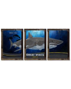 Great White Shark, METAL Triptych, Optional Rustic Wood Frame, Sharks, Wall Art, Ocean, Nautical