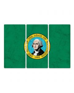"Washington SayWA!; Evergreen State, Triptych Metal Sign, Wall Decor, Wall Art, Vintage, 54""x36"""
