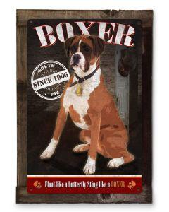 Boxer, Sting Like a Boxer, Dog Metal Sign, Pet Lovers, Wood Frame Option.