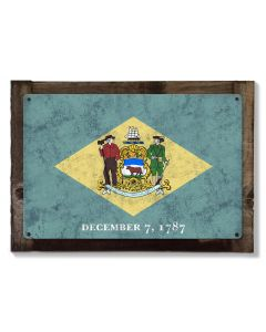 Delaware State Flag, The First State, Metal Sign, Optional Rustic Wood Frame, Wall Decor, Wall Art, Vintage, FREE SHIPPING!